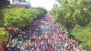 Imagen cedida por M.C.L. Protesta minera en el Paseo de la Castellana de Madrid el pasado verano.